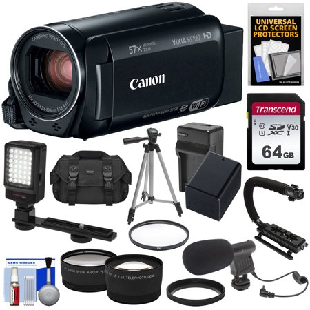 Canon Vixia HF R82 32GB Wi-Fi 1080p HD Video Camera Camcorder + 64GB Card + Battery + Charger + Case + Tripod + Stabilizer + LED + Mic + 2 - Wall Stabilizer Kit