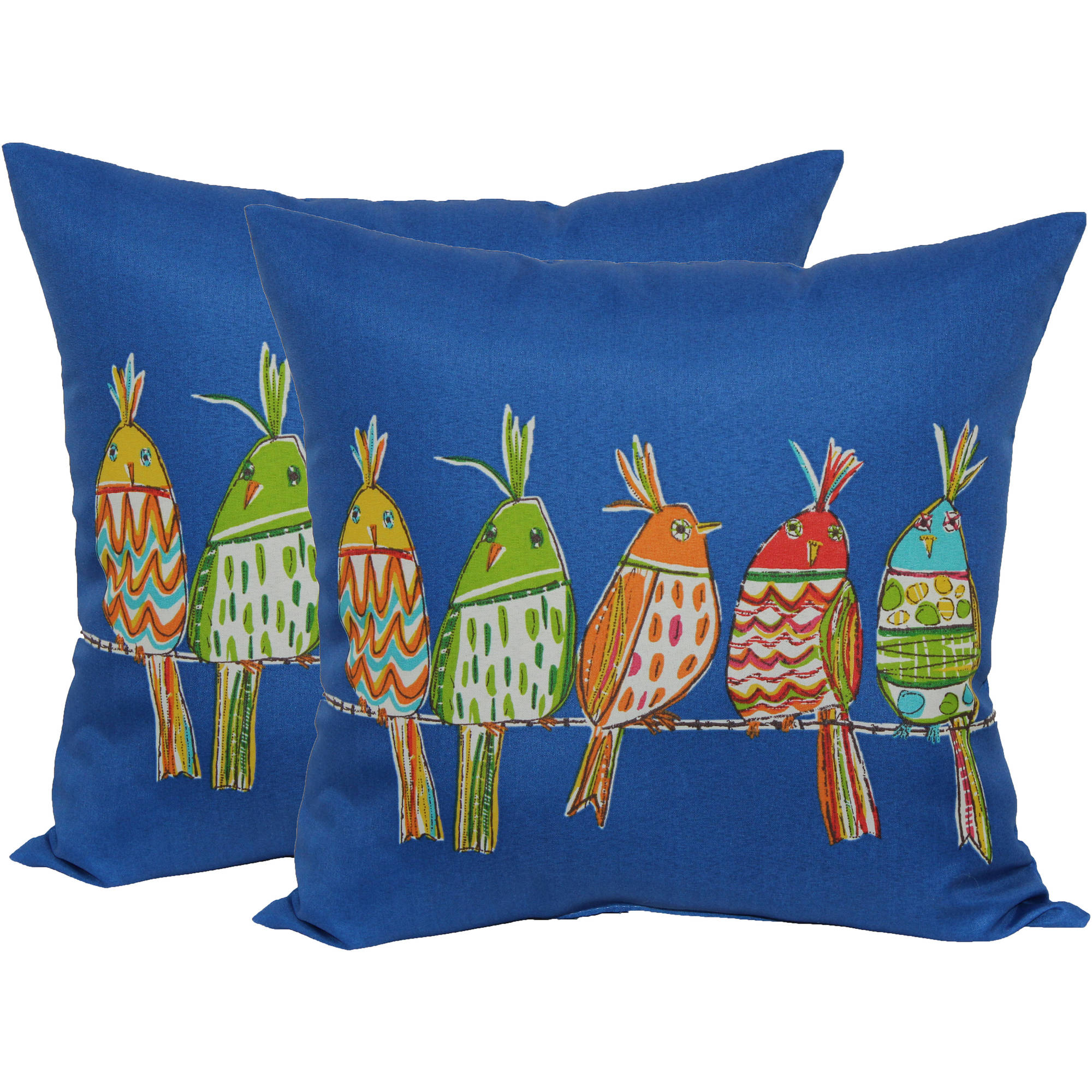 Mainstays Line Lapis Birds Toss Pillow, 2-Pack