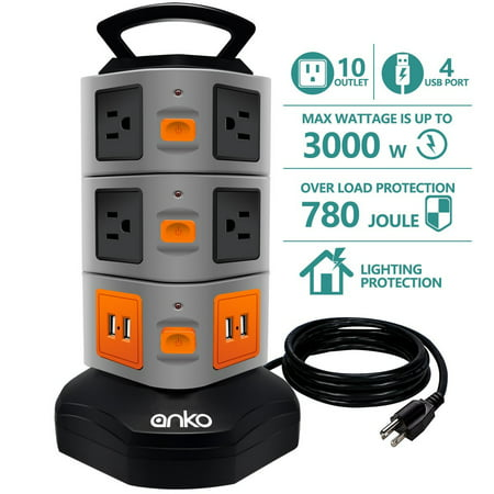 Power Strip Tower, ANKO 3000W 13A 16AWG Surge Protector Electric Charging Station, 10 Outlet Plugs with 4 USB Slot 6ft Cord Wire Extension Universal Charging Station
