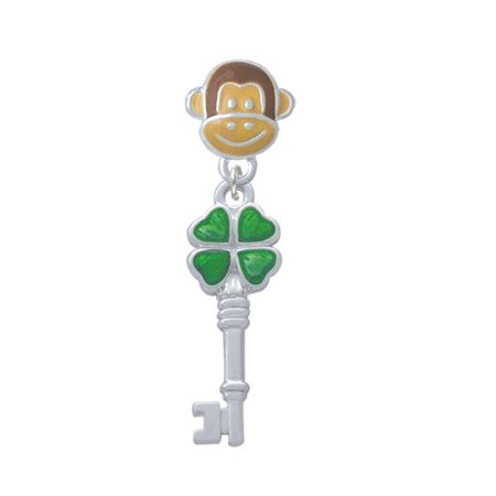 Translucent Green Lucky Four Leaf Clover Key - Monkey Face Charm Bead