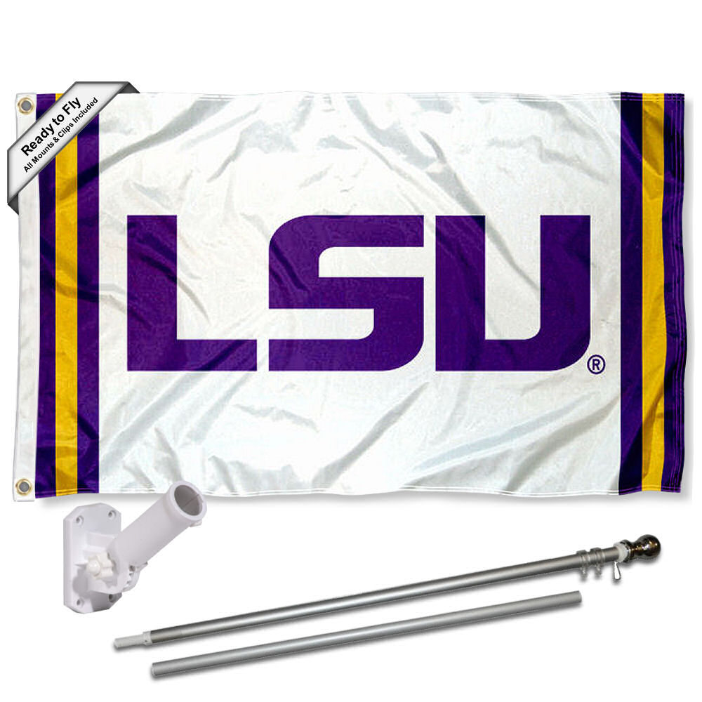LSU Tigers Stripes 3x5 Flag and Accessory Kit