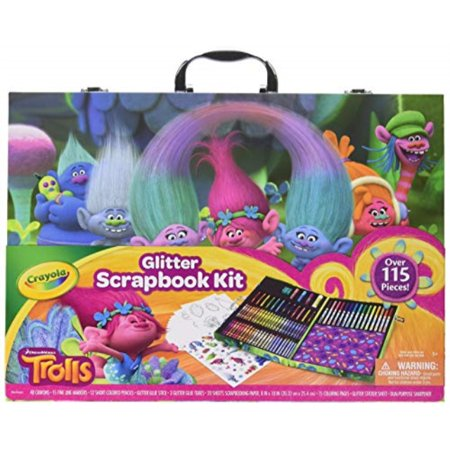 Scrapbooking Pencils (Crayola 1836532 Dreamworks Trolls Glitter Scrapbook Kit, 115+ Pieces Art Gift for Kids 5 & Up, Includes Crayons, Markers, Colored Pencils )
