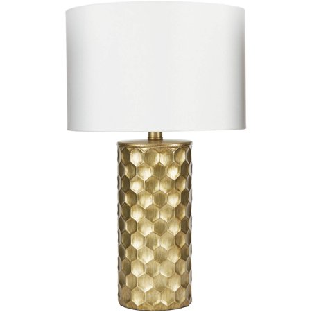 "21"" The Hive Gilded Silverwood Table Lamp with Shade (Includes CFL Light Bulb) Gold - Decor Therapy"