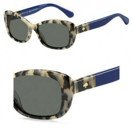 Kate Spade Women's Claretta/p/s Polarized Rectangular Sunglasses, Havana Blue, 53 mm