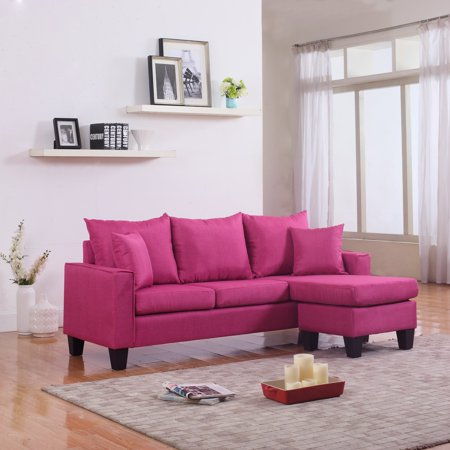 Modern Linen Fabric Small Space Sectional Sofa with ...