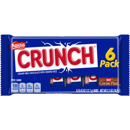 Nestle Crunch Chocolate Candy Bars, 0.45 Oz., 6 Count
