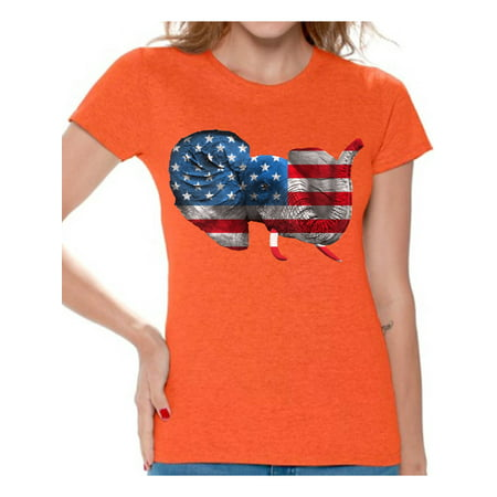 Awkward Styles Women's American Flag Cute Elephant Graphic T-shirt Tops 4th Of July Party USA Flag (Cute Fourth Of July Shirts)