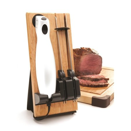 Ash Wave Knife Trays (Draizee Electric Kitchen Knife with Wooden Storage Tray Durable and Comfortable Handling Steel Blades for Meat Carving and Bread)