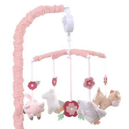 Baby Girl Musical Mobile - Pink Forest Animal Theme - Woodland Whimsy by The Peanut Shell