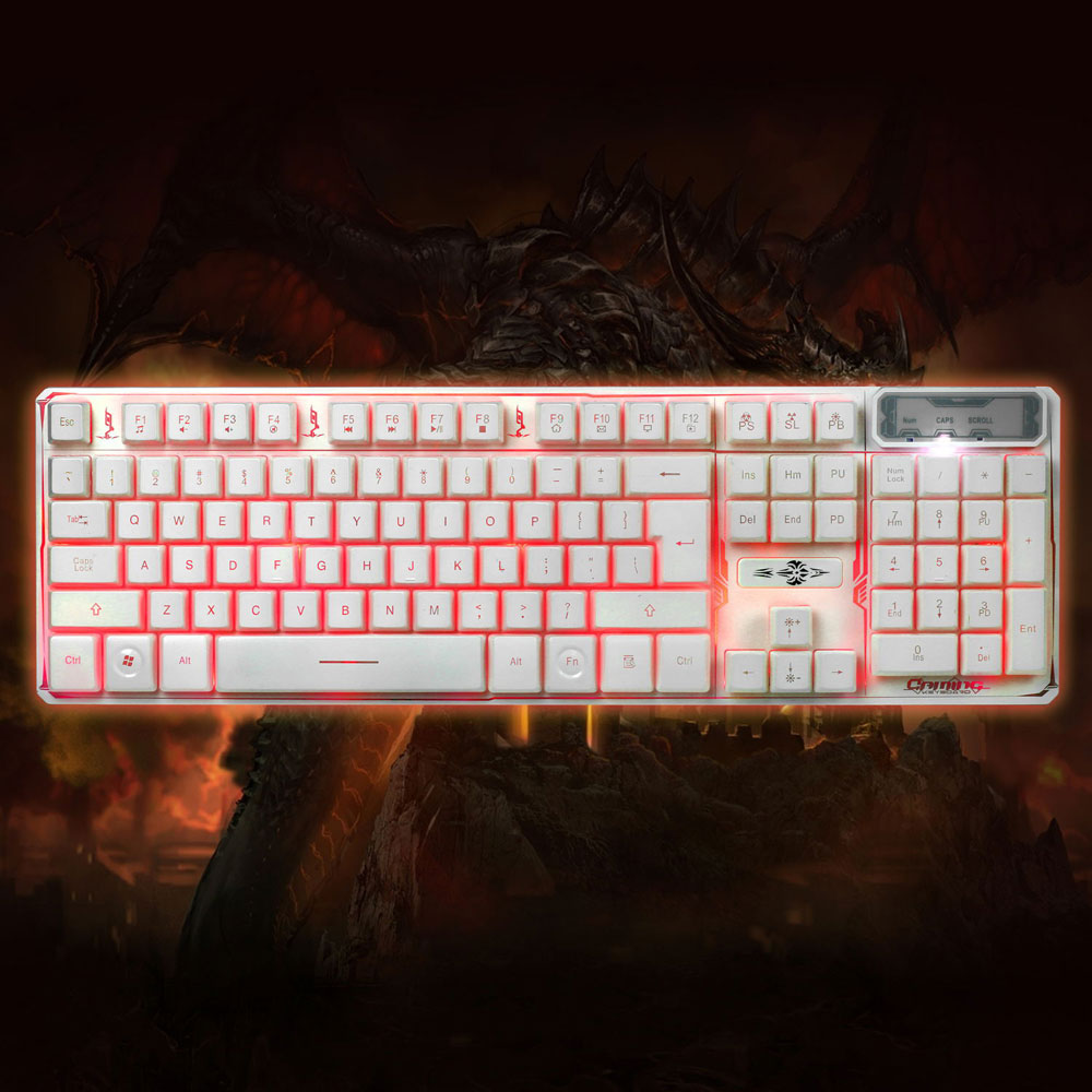 Zimtown 3 Color LED 107 Keys Multimedia Wired Backlit Gaming Mechanical Keyboard PC Mac