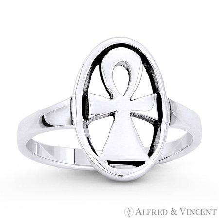 Egyptian Ankh Cross Key-of-Life Oval Charm Ring in Oxidized .925 Sterling (Egyptian Ankh Cross Ring)