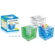 Generic 1pcs 3D Cube Money Maze Bank Crystal Inverted Bead Storage Money Maze Piggy Bank Brain Teasers Gift Blue Transparent