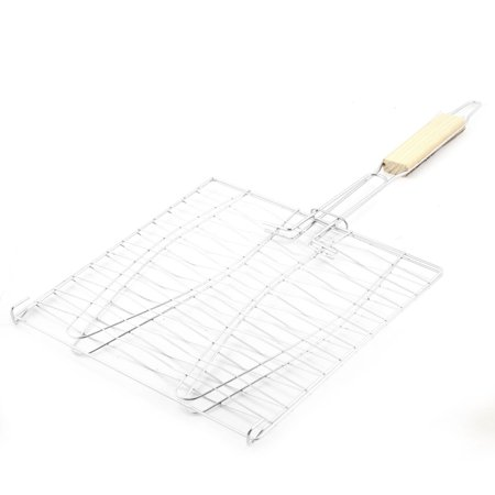 Unique Bargains Picnic Silver Tone Metal Barbecue Tool Fish Grill Net Basket 24cm x 24cm