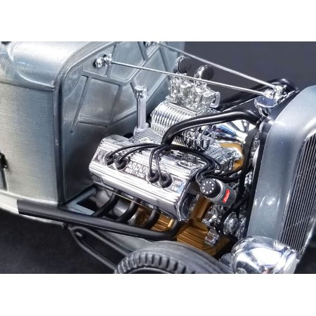 Engine and Transmission Replica Chromed Blown Ardun Flathead from 1932 Ford 5 Window 1/18 Model by