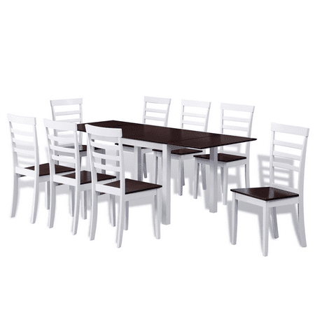 Vidaxl Brown White Solid Wood Extending Dining Table Set