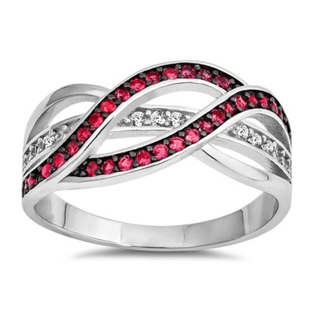 CHOOSE YOUR COLOR Simulated Ruby Criss Cross Weave Knot Ring New .925 Sterling Silver Band (Simulated Ruby/Ring Size 7)