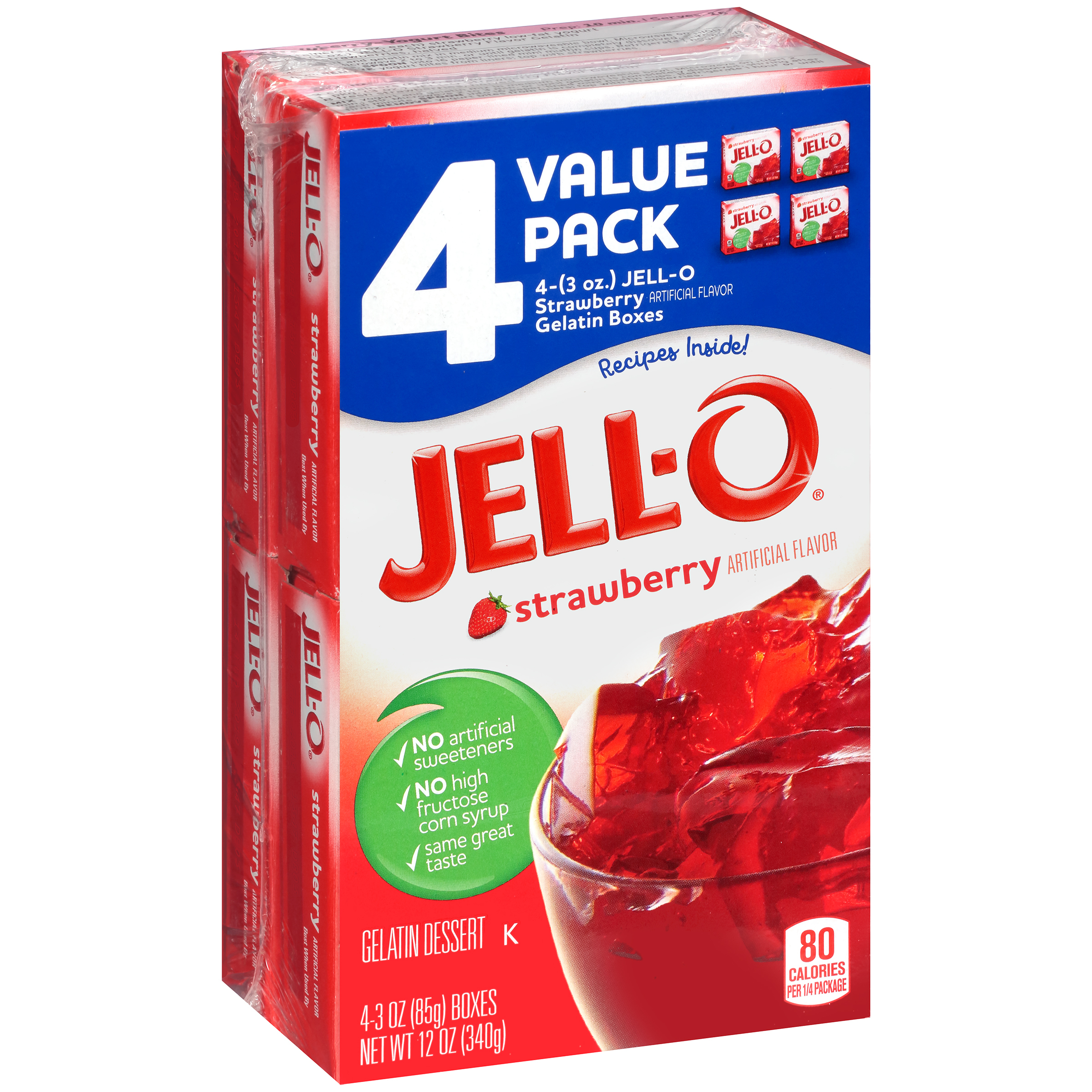 Jell-O Strawberry Gelatin Dessert, 12 oz Box