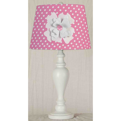 """24.5"""" Pink Shade with Flower Desk Lamp/Shade"""