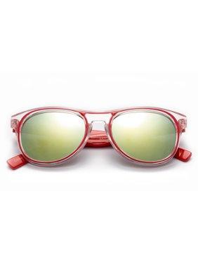 "Newbee Fashion - ""Congo"" - Kyra Girls Boys Two Tone Clear Frame Fashion Sunlasses with Flash Lenses Kids Sunglasses UV Protection"