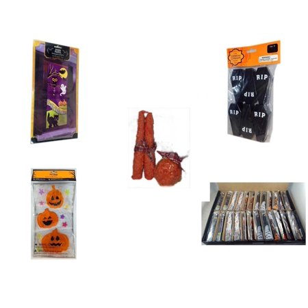 Halloween Fun Gift Bundle [5 Piece] - Happy  Door Panel - Tombstone Containers Party Favors 6 Count - Autumn Orange-spice Candles Set of 3 - Gel Clings Pumpkins, Stars - Large Box  Wooden Craft Stic