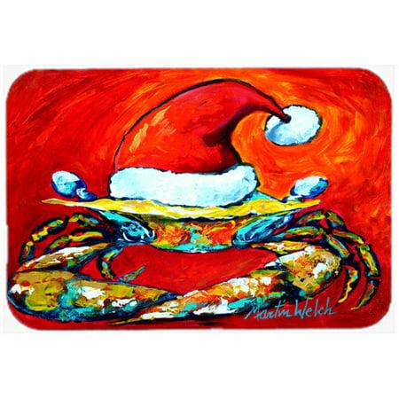Caroline's Treasures Crab in Santa Hat Santa Claws Glass Cutting Board