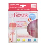Dr. Brown's Original Baby Bottles, 4 Ounce, Pink, 3 Count
