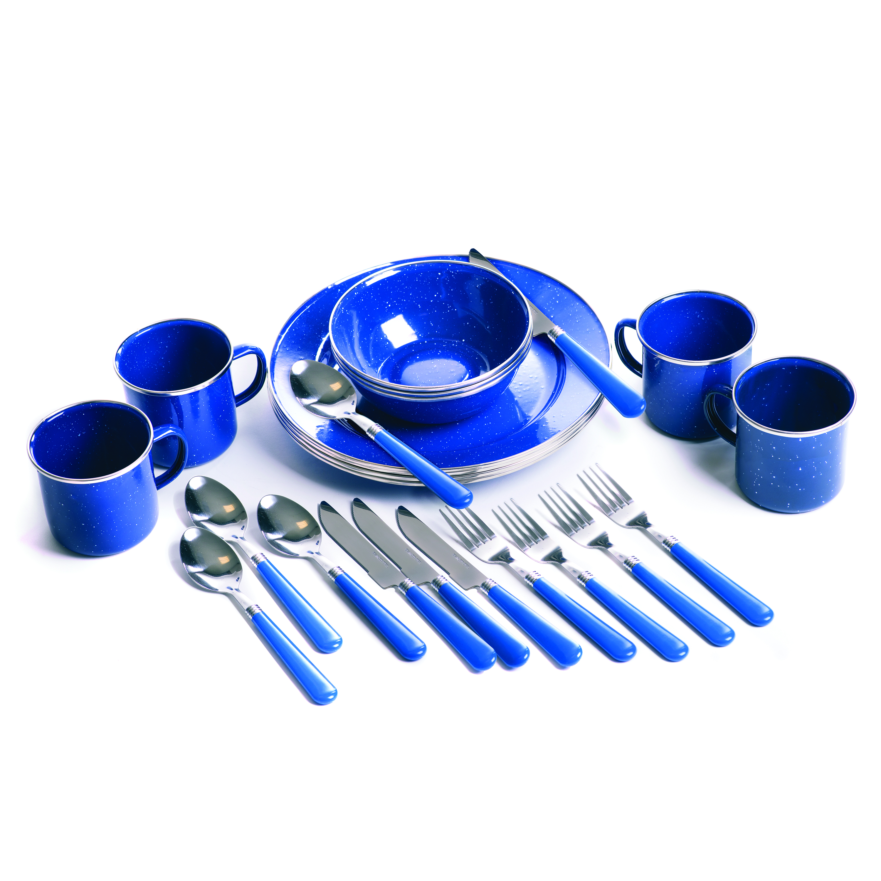 Stansport 11220 Enamel Camping 24-Piece Tableware Set