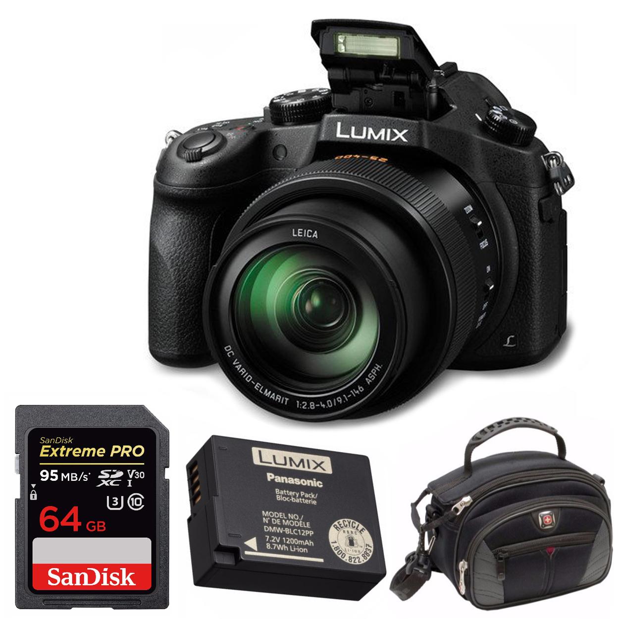 PANASONIC LUMIX FZ1000 4K Camera +Genuine DMW-BLC12 Battery + SanDisk 64GB