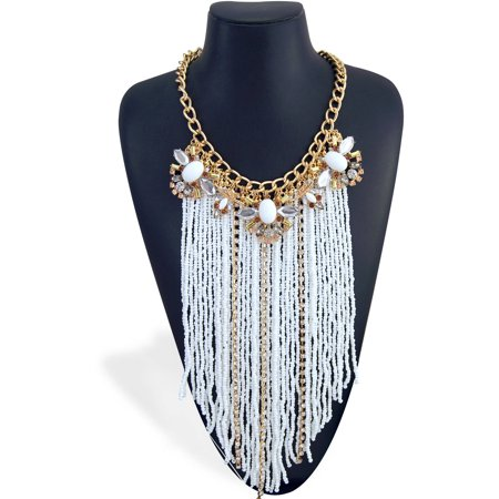 """Close-Fitting Imitation Gold White Seedbead and Rhinestone Chain Drop Statement Necklace, 18"""" with 3"""" Extender"""