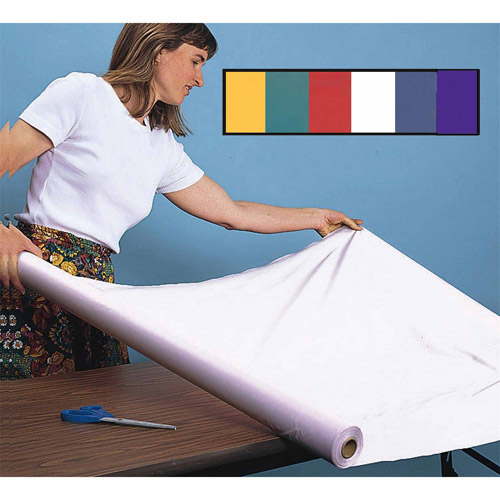 "Plastic Table Cover Roll, 40"" x 100', White"