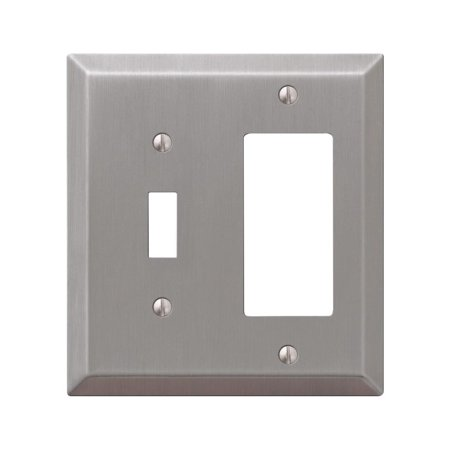 Century Brush Nickel Steel Single Toggle/Single Rocker Wallplate