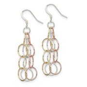 Roy Rose Jewelry Sterling Silver Tri-colored Vermeil Polished Dangle Earrings