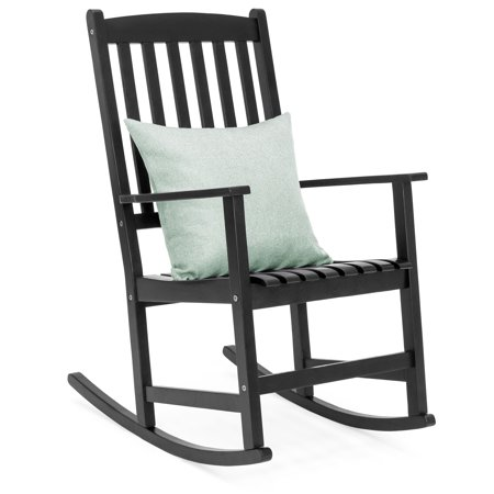 Poly Outdoor Slat (Best Choice Products Indoor Outdoor Traditional Wooden Rocking Chair Furniture w/ Slatted Seat and Backrest for Patio, Porch, Living Room, Home Decoration - Black )