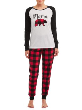 Matching Family Christmas Pajamas Womens and Womens Plus 2-Piece Bear Set