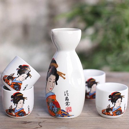 CoreLife Sake Set, Traditional 5-Piece Porcelain Ceramic Japanese Sake Set with Sake Serving Bottle and 4 Sake Cups - Geisha Design