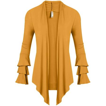 f7874b0451 Simlu - Simlu Womens Open Front Cardigan Sweater Ruffle Long Sleeve  Cardigan Reg and Plus Size - Made in USA - Walmart.com