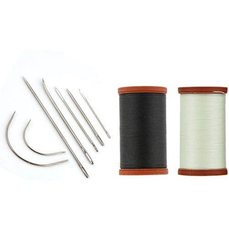 Extra Heavy Duty Double Needle (Kedudes Upholstery Kit. Coats Extra Strong Upholstery Thread 150yd - Natural and Black. Included a Set of 7 Heavy Duty Assorted Hand Needles )