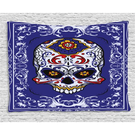 Sugar Skull Decor Tapestry, Scary Floral Skull with Motifs in Ornate Framework Swirls Gothic Vintage, Wall Hanging for Bedroom Living Room Dorm Decor, 60W X 40L Inches, Multicolor, by - Scary Sugar Skull