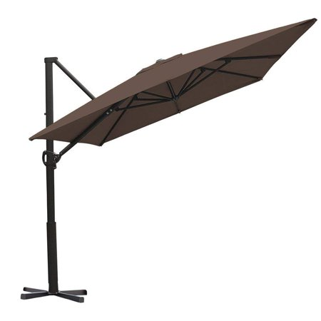 Abba Patio 8 x 10 Feet Rectangular Cantilever Umbrella with Cross Base, Cocoa