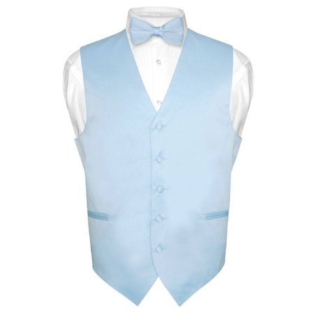 Men's Dress Vest & BowTie Solid BABY BLUE Color Bow Tie Set for Suit or Tuxedo - Vest Bow Tie