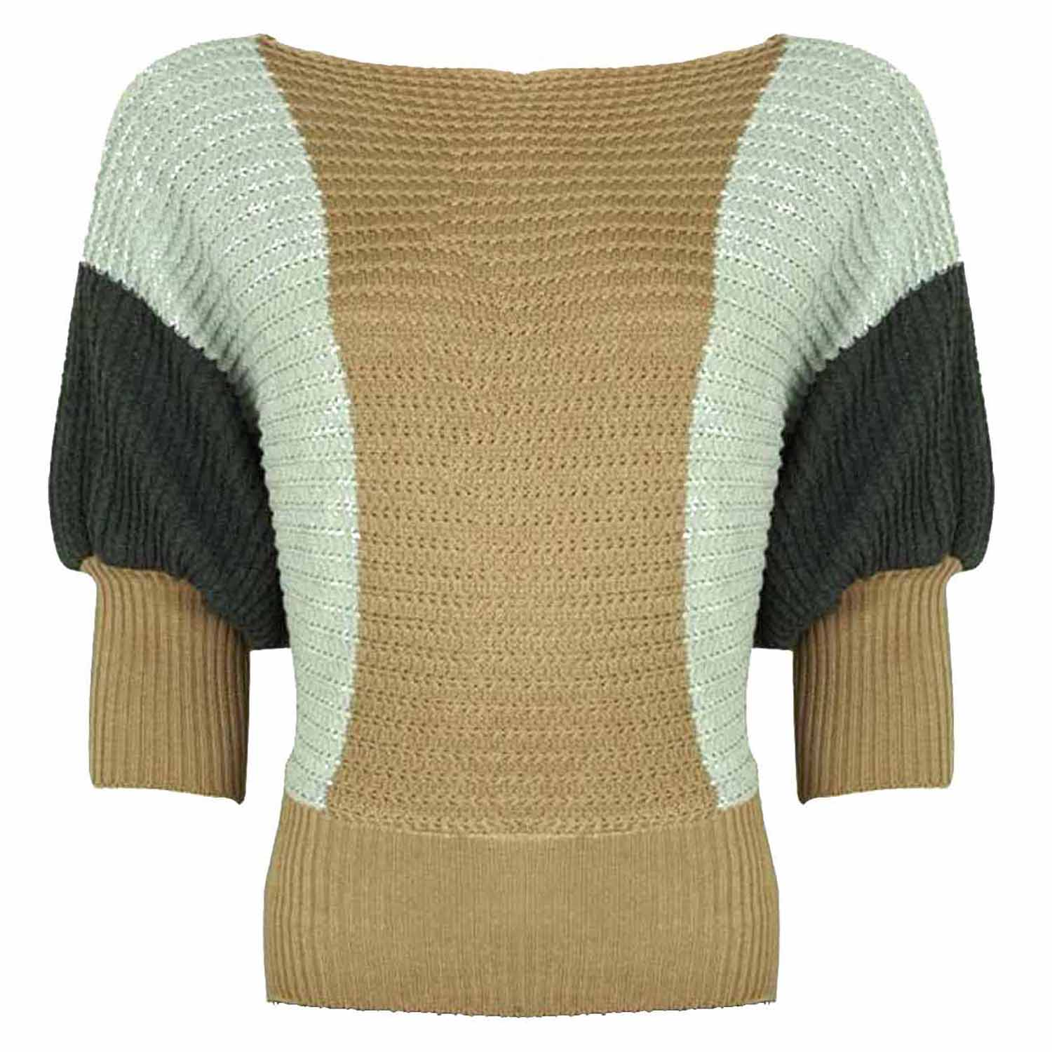 Luxury Divas Two-Tone Sweater With Dolman Sleeves