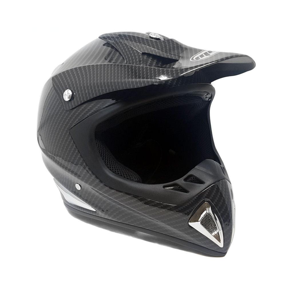Motorcycle Helmet Off Road MX ATV Dirt Bike Motocross UTV - Carbon Fiber (Medium) + FREE Goggles