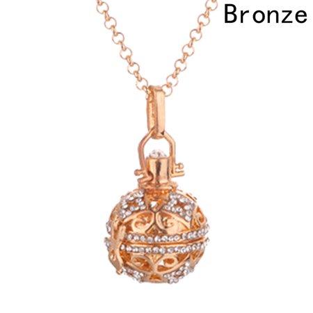 Oily Bronze Pendant (AkoaDa Popular Diamond-Encrusted Hollow Cage Essential Oil Necklace Clavicle Chain Aroma Diffuse)