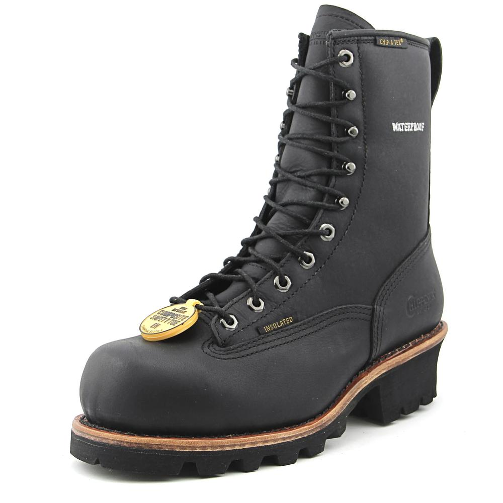 "Chippewa 8"" Logger Men W Composite Toe Leather Black Work Boot"