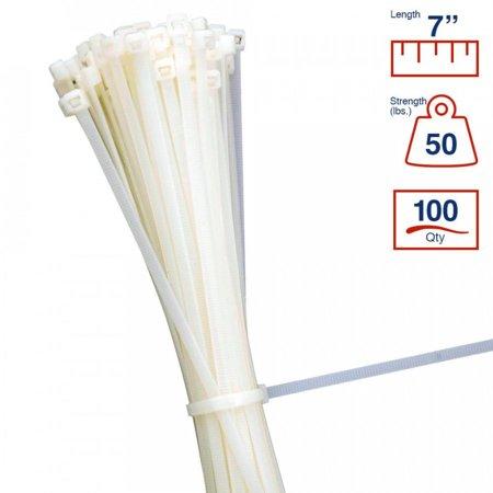 - BCT 7 Inch 50 lb Cable Ties - Medium Duty Industrial/Home Use - Bag of 100 - Natural - Zip Ties - Y7509C