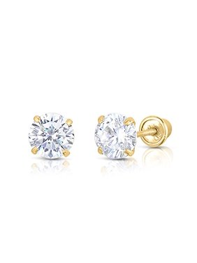 e022e6e9c Product Image 14k Yellow Gold Solitaire Round Cubic Zirconia Stud Earrings  in Secure Screw-backs (6mm