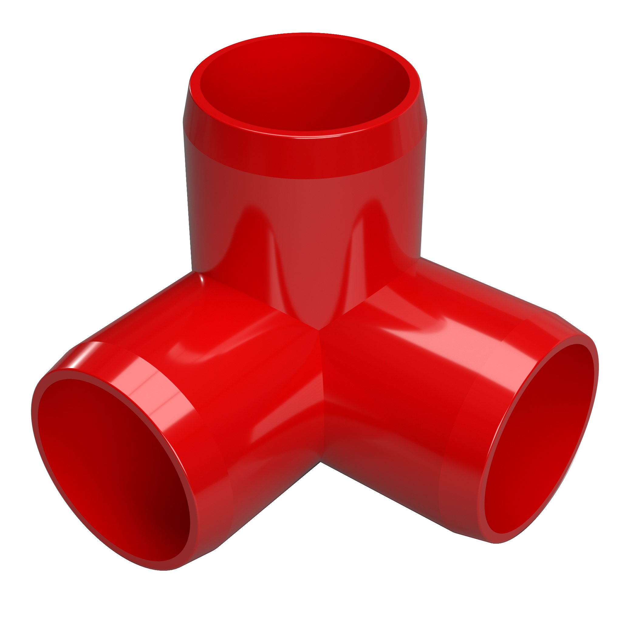 """FORMUFIT F1143WE-RD-4 3-Way Elbow PVC Fitting, Furniture Grade, 1-1/4"""" Size, Red , 4-Pack"""