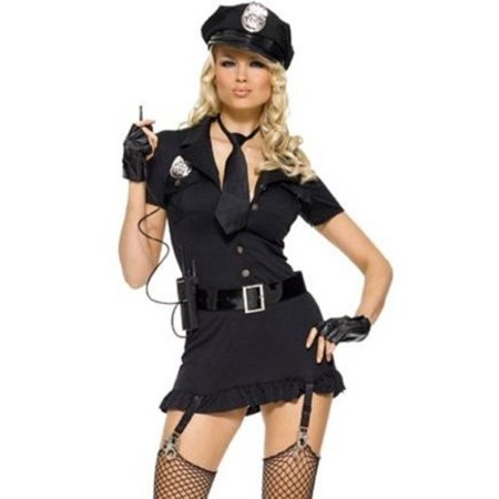Dirty Halloween Electro (Leg Avenue Women's 6 Piece Dirty Cop Costume, Black,)