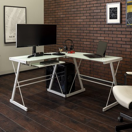 Walker Edison Glass and Metal L-Shaped Computer Desk - White