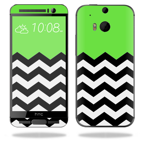 MightySkins Protective Vinyl Skin Decal for HTC One M9 Plus wrap cover sticker skins Lime Chevron